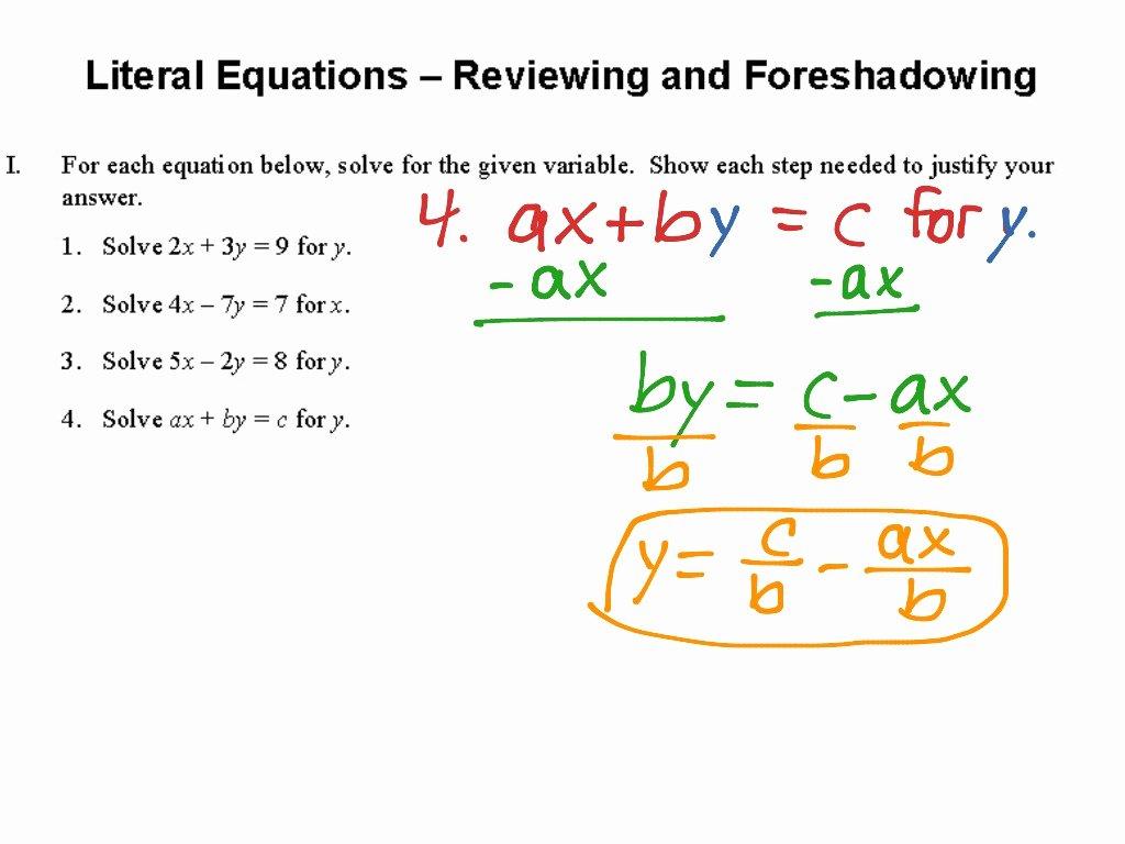 Literal Equations Worksheet Answer Key Elegant Literal Equations Worksheet Answer Key