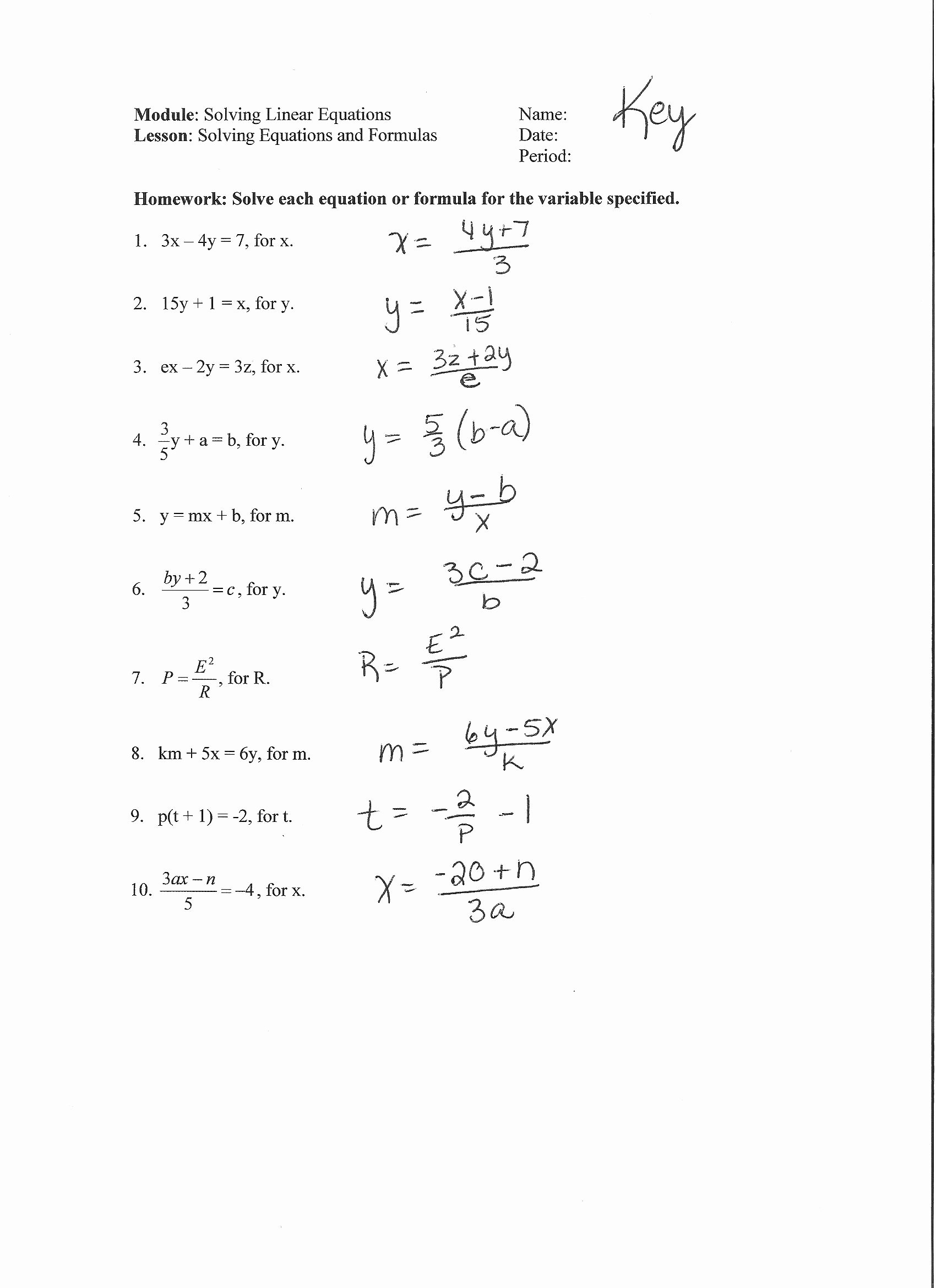 Literal Equations Worksheet Answer Key New Multi Step Equations with Fractions Worksheet Pdf