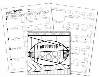 Literal Equations Worksheet Answer Luxury Literal Equations Coloring Activity by All Things Algebra