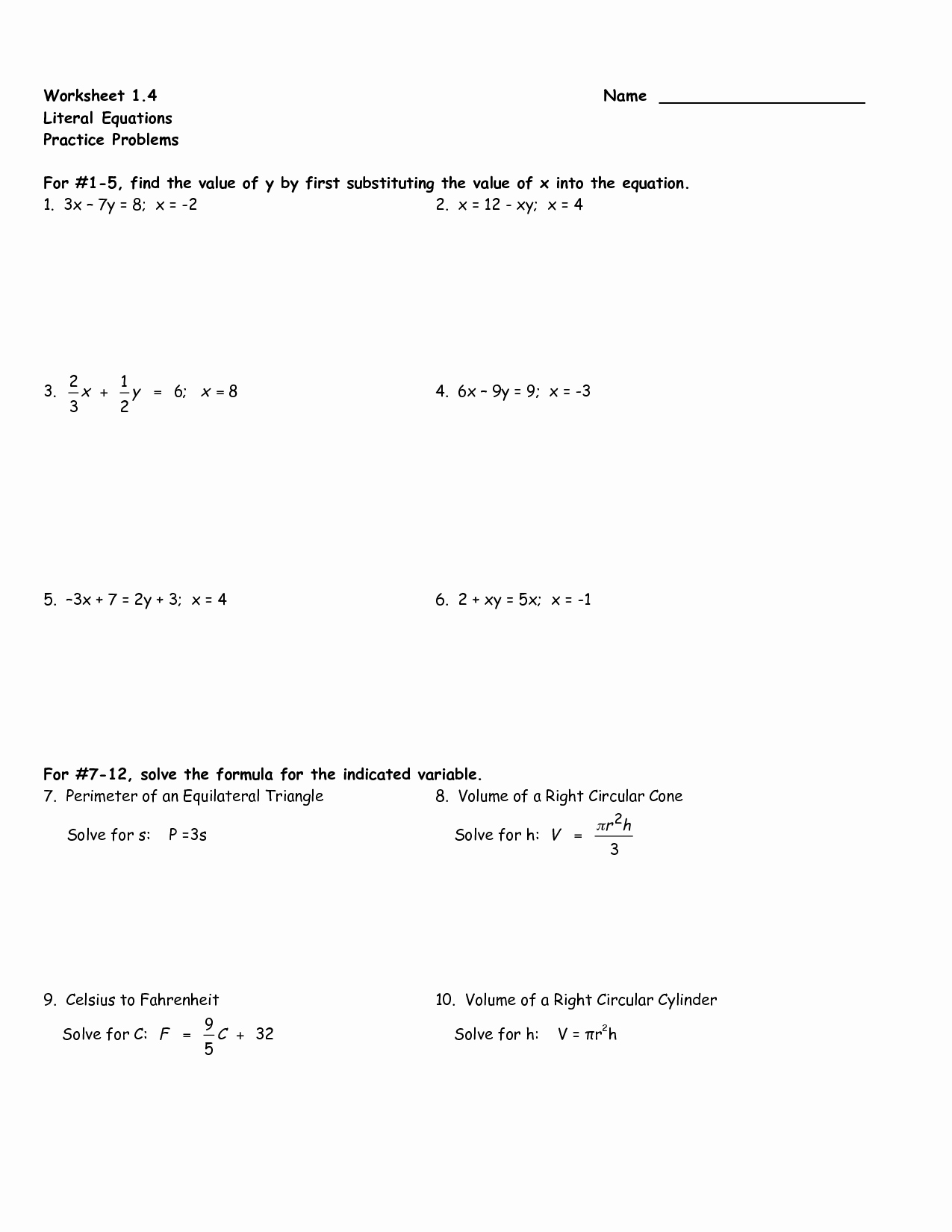Literal Equations Worksheet Answer New Algebraic Equations Worksheet