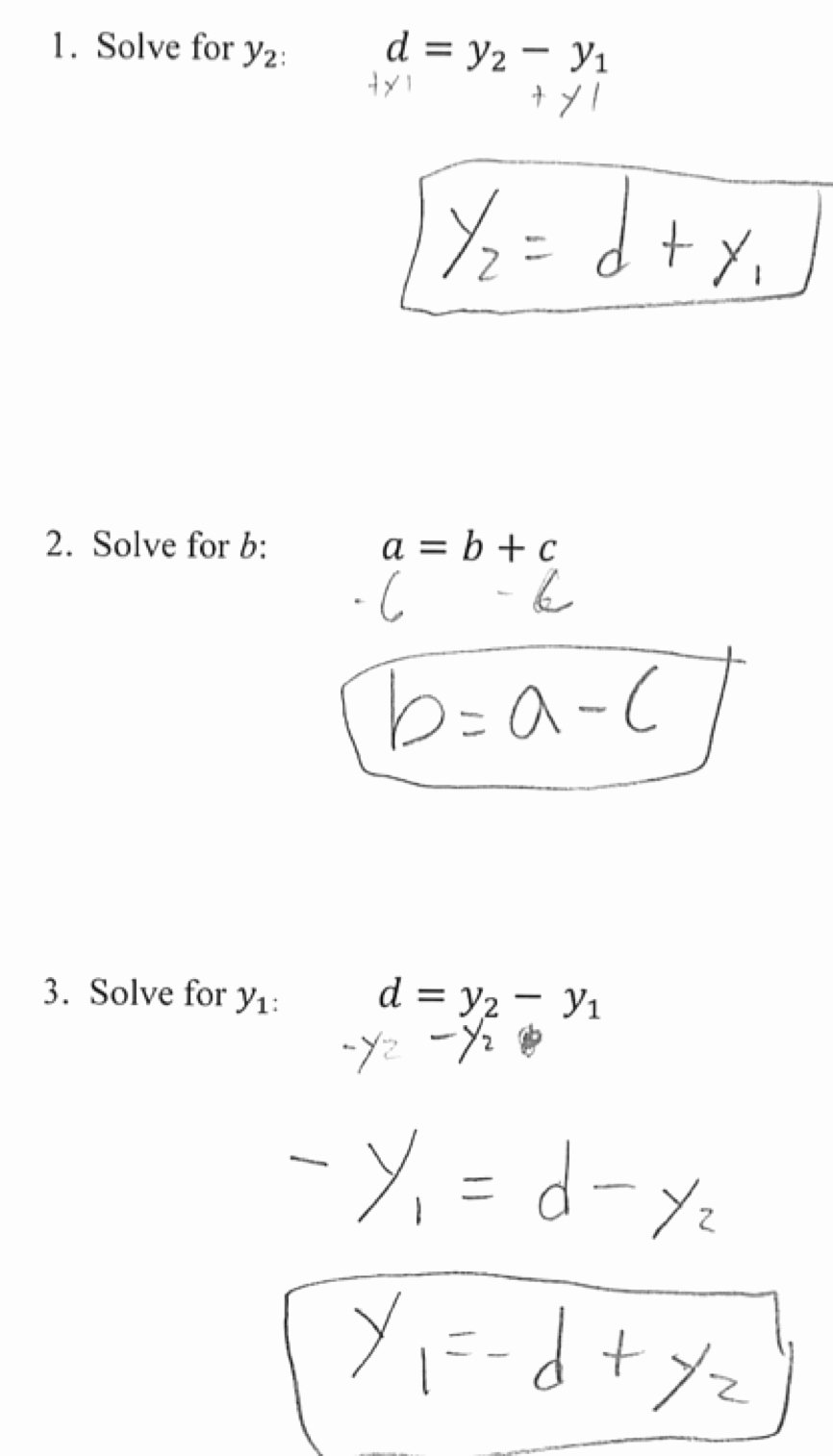 Literal Equations Worksheet Answers Elegant solving Literal Equations