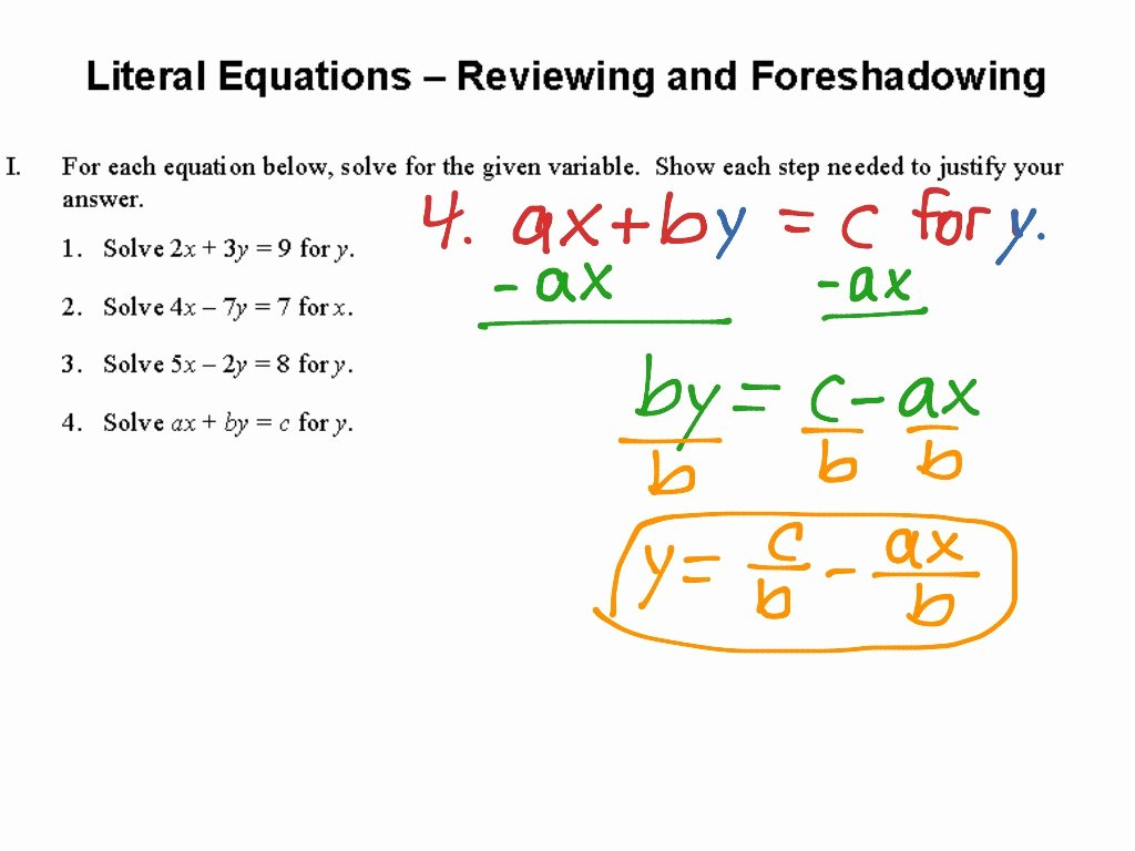 Literal Equations Worksheet Answers New 1 4 Literal Equations Reviewing and foreshadowing