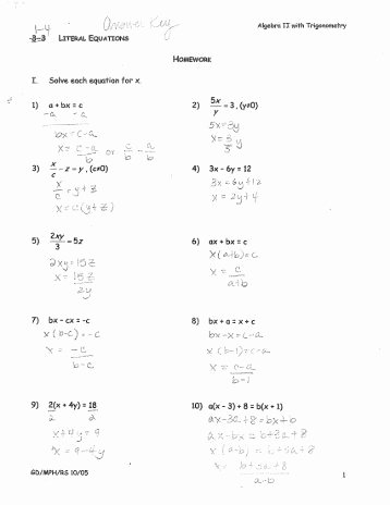 Literal Equations Worksheet Answers Unique Activity 2 5 1 Literal Equations