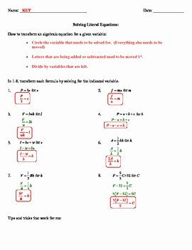Literal Equations Worksheet Answers Unique solving Literal Equations Notes by Mon Sense 4 the