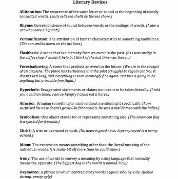 Literary Devices Worksheet Pdf Beautiful Literary Devices Handout Definitions and by Sarah