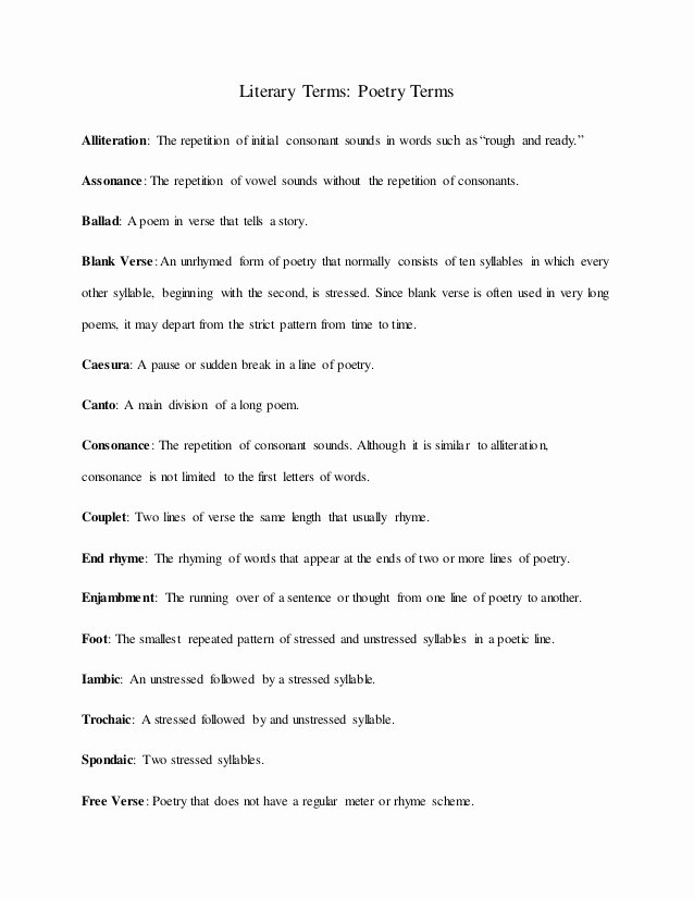 Literary Devices Worksheet Pdf Lovely Ci350 Poetic Devices Handout