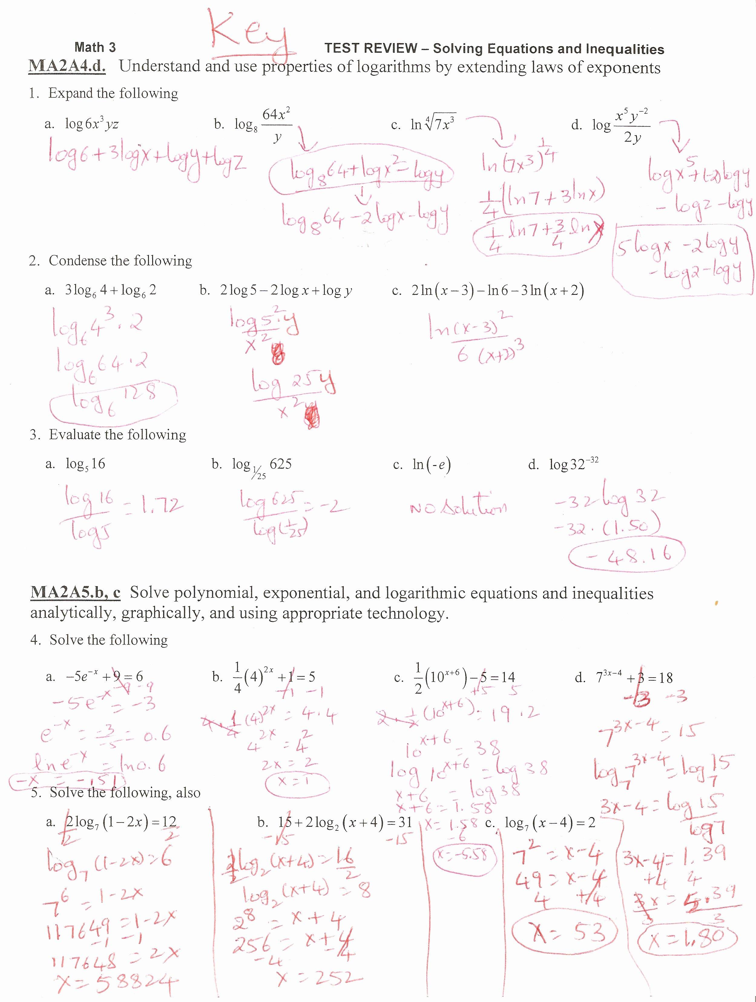 Logarithm Worksheet with Answers Elegant Expanding and Condensing Logarithms Worksheet with Answers