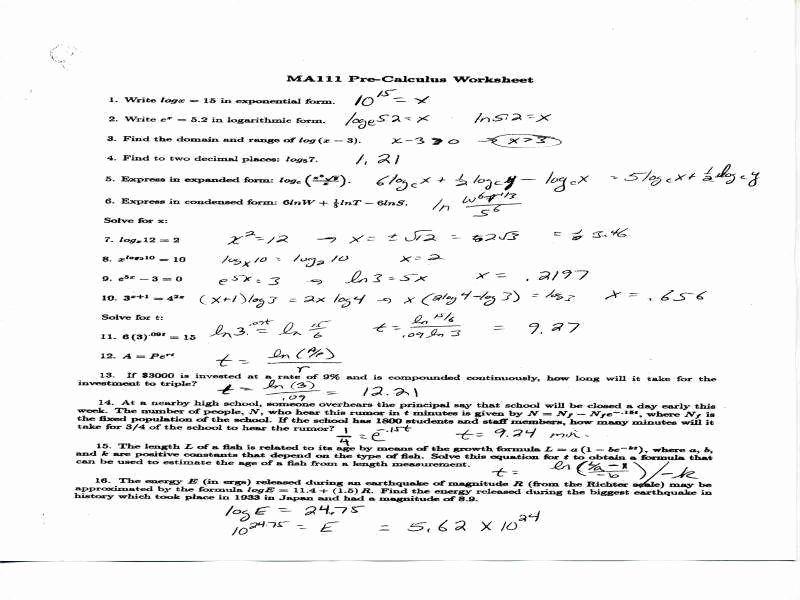 Logarithm Worksheet with Answers Fresh Logarithm Worksheet