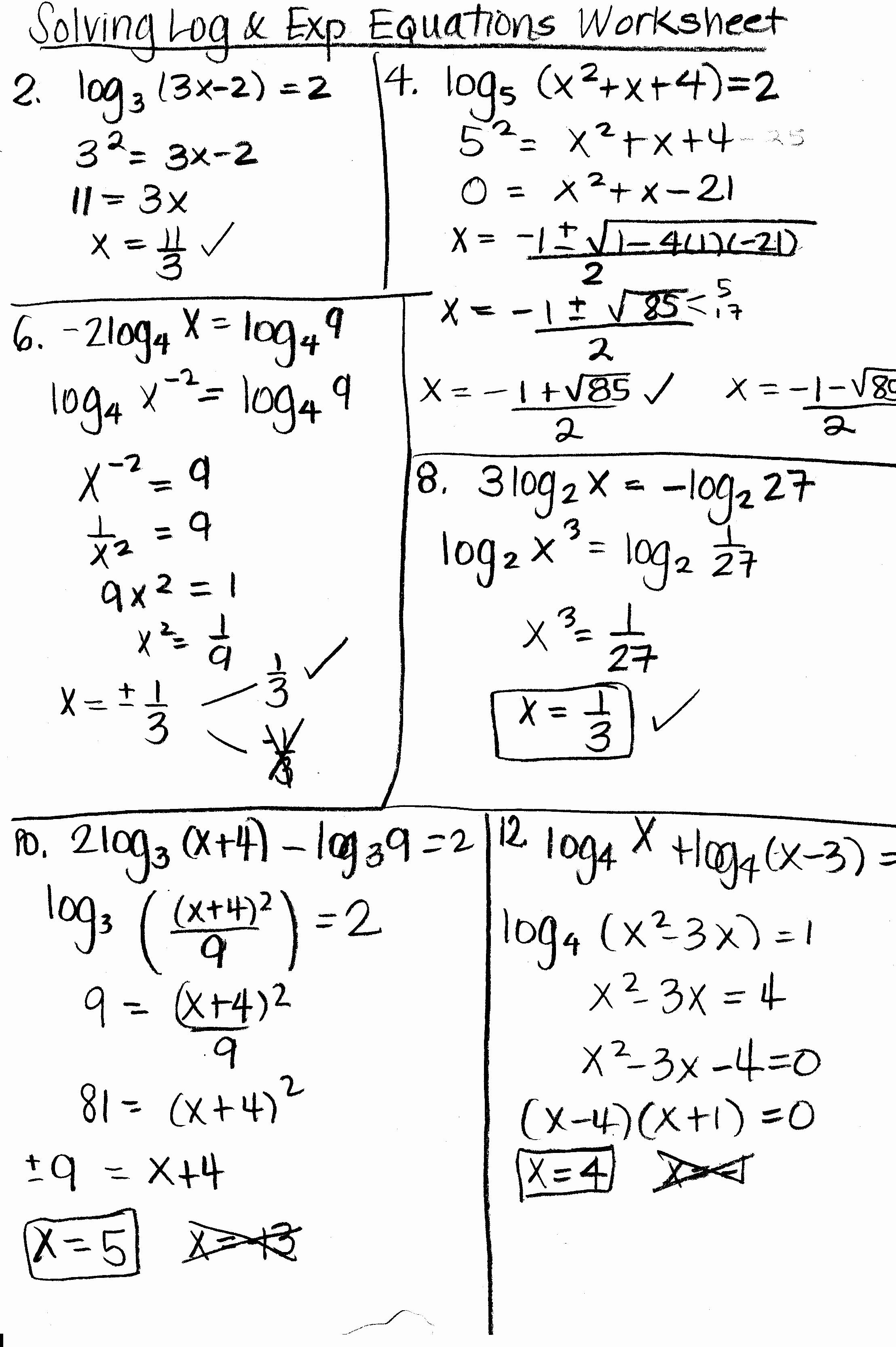 Logarithmic Equations Worksheet with Answers Beautiful Exponential and Logarithmic Equations 8 5 Tessshebaylo