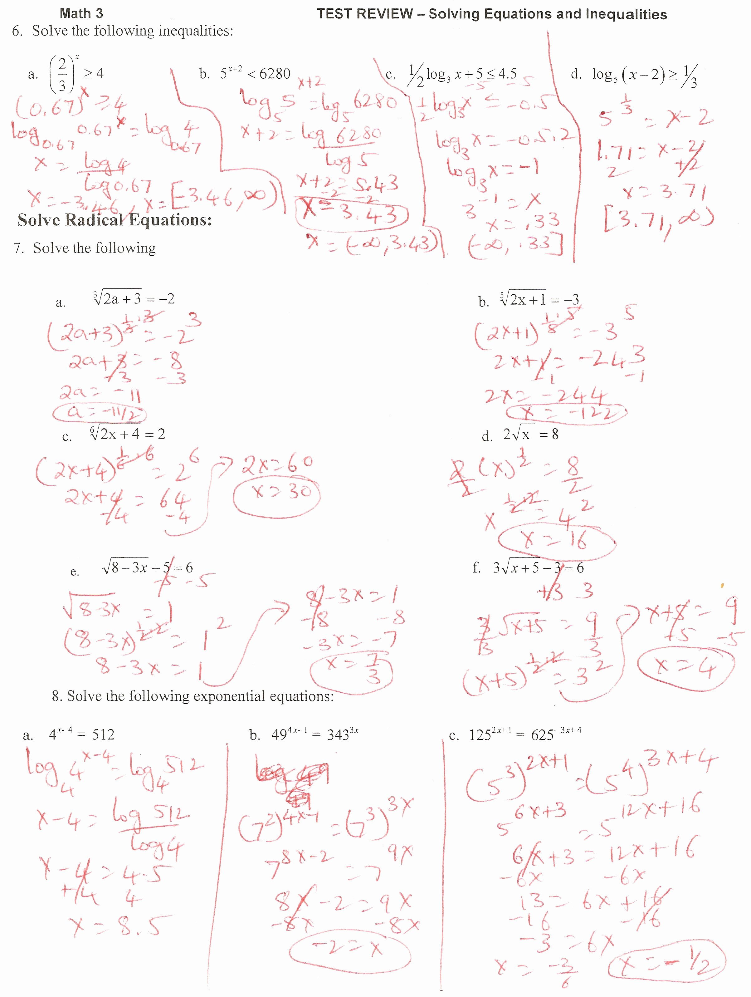 Logarithmic Equations Worksheet with Answers Elegant 7 4 solving Logarithmic Equations and Inequalities Answers