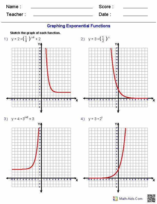 Logarithmic Equations Worksheet with Answers Lovely Graphing Exponential Functions Worksheets