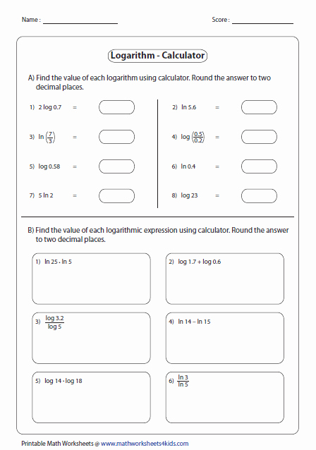 Logarithmic Equations Worksheet with Answers Lovely Logarithms Worksheets