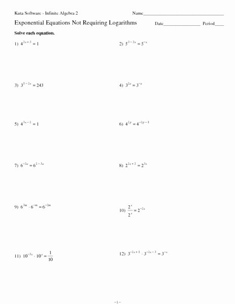 Logarithmic Equations Worksheet with Answers New Exponential Equations Not Requiring Logarithms Worksheet