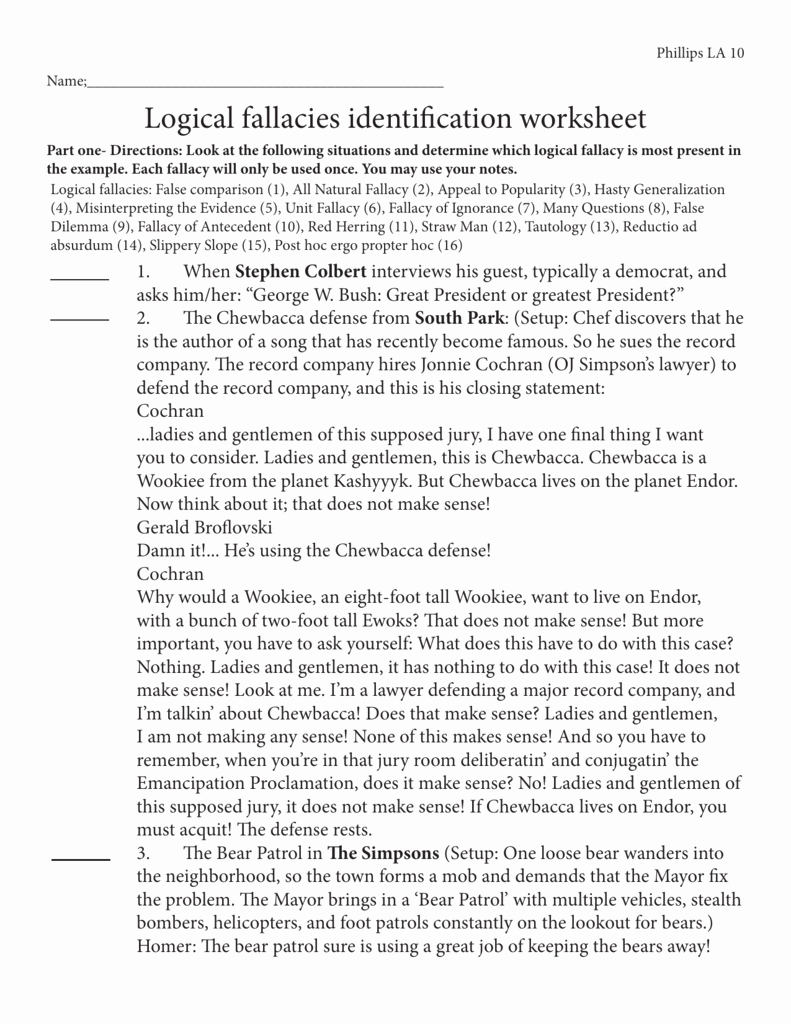 Logical Fallacies Worksheet with Answers Awesome Logical Fallacies Identification Worksheet