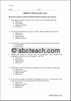 Logical Fallacies Worksheet with Answers Beautiful 10 Best Of Logical Fallacies Worksheet Logical