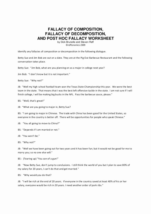 Logical Fallacies Worksheet with Answers Beautiful 54 Logical Fallacies Worksheet Logical Fallacy Worksheet