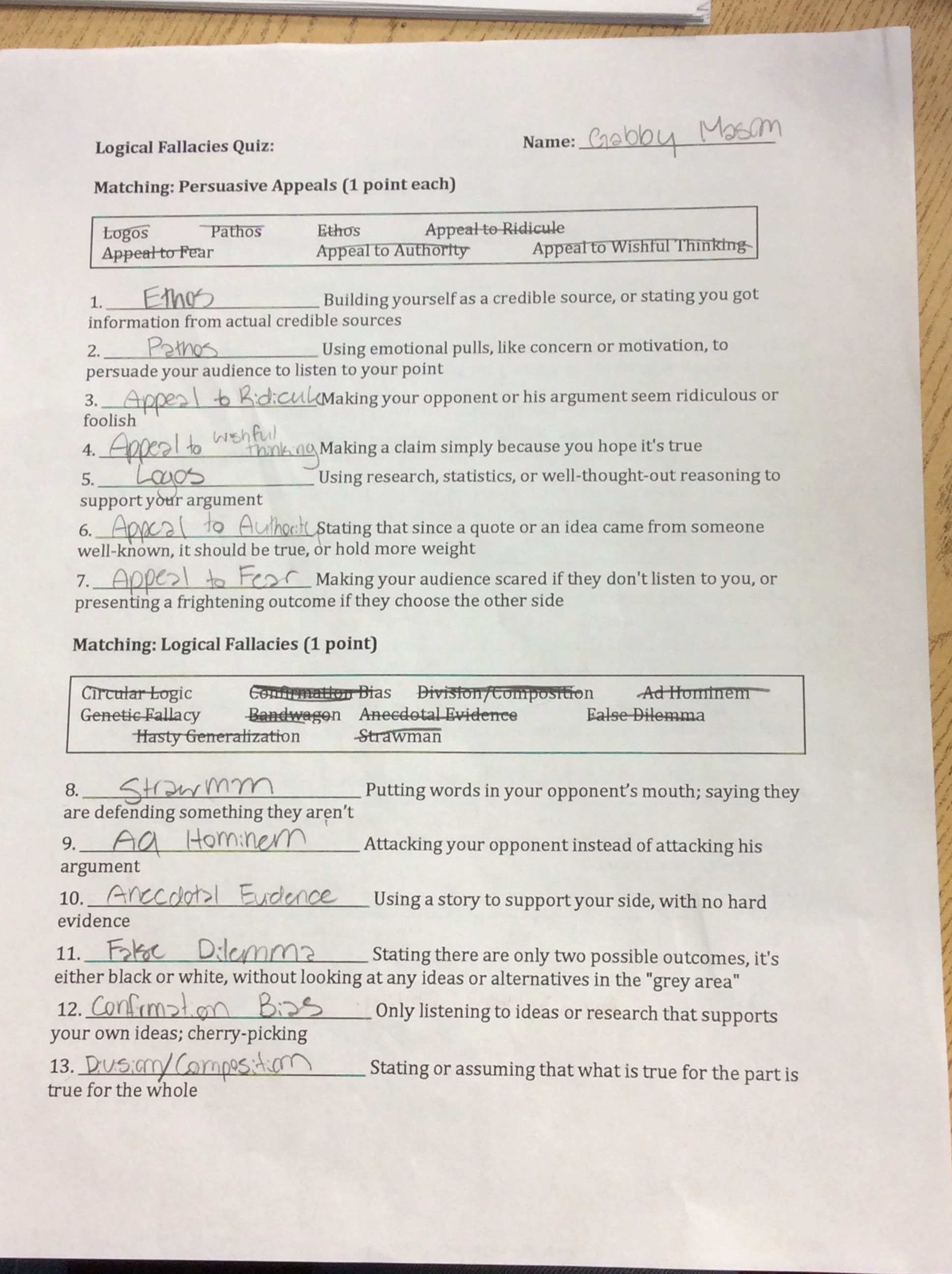 Logical Fallacies Worksheet with Answers Beautiful Logical Fallacies Quiz – Gabby Mason