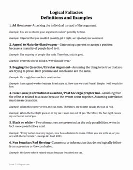 Logical Fallacies Worksheet with Answers Inspirational Logical Fallacies Worksheets Definitions and Slideshow tok