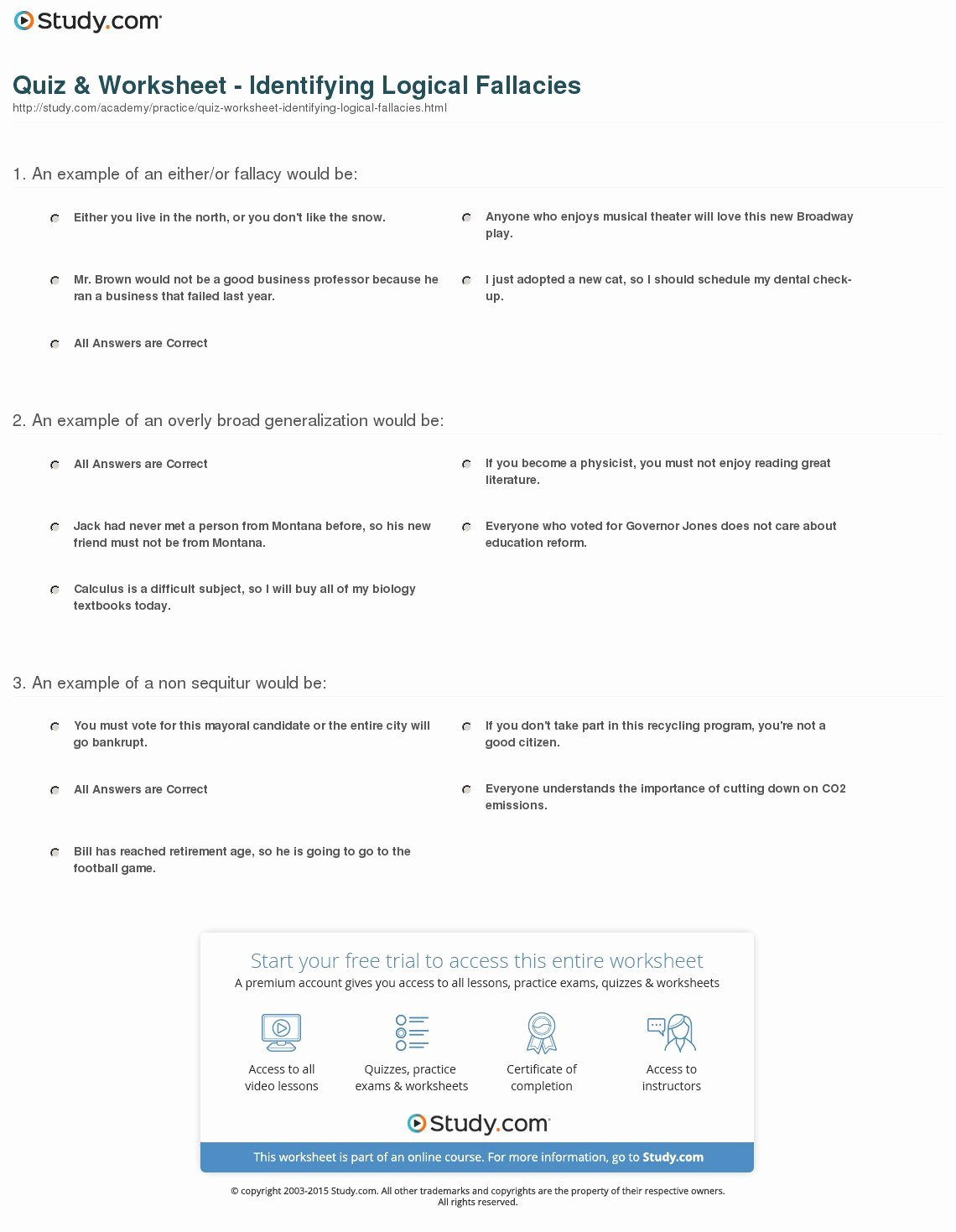 Logical Fallacies Worksheet with Answers Inspirational Quiz & Worksheet Identifying Logical Fallacies