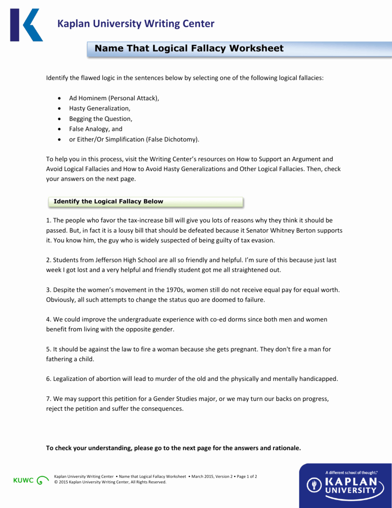 Logical Fallacies Worksheet with Answers Lovely Name that Logical Fallacy Worksheet