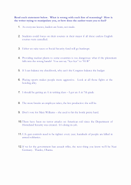 Logical Fallacies Worksheet with Answers New Name that Logical Fallacy Worksheet