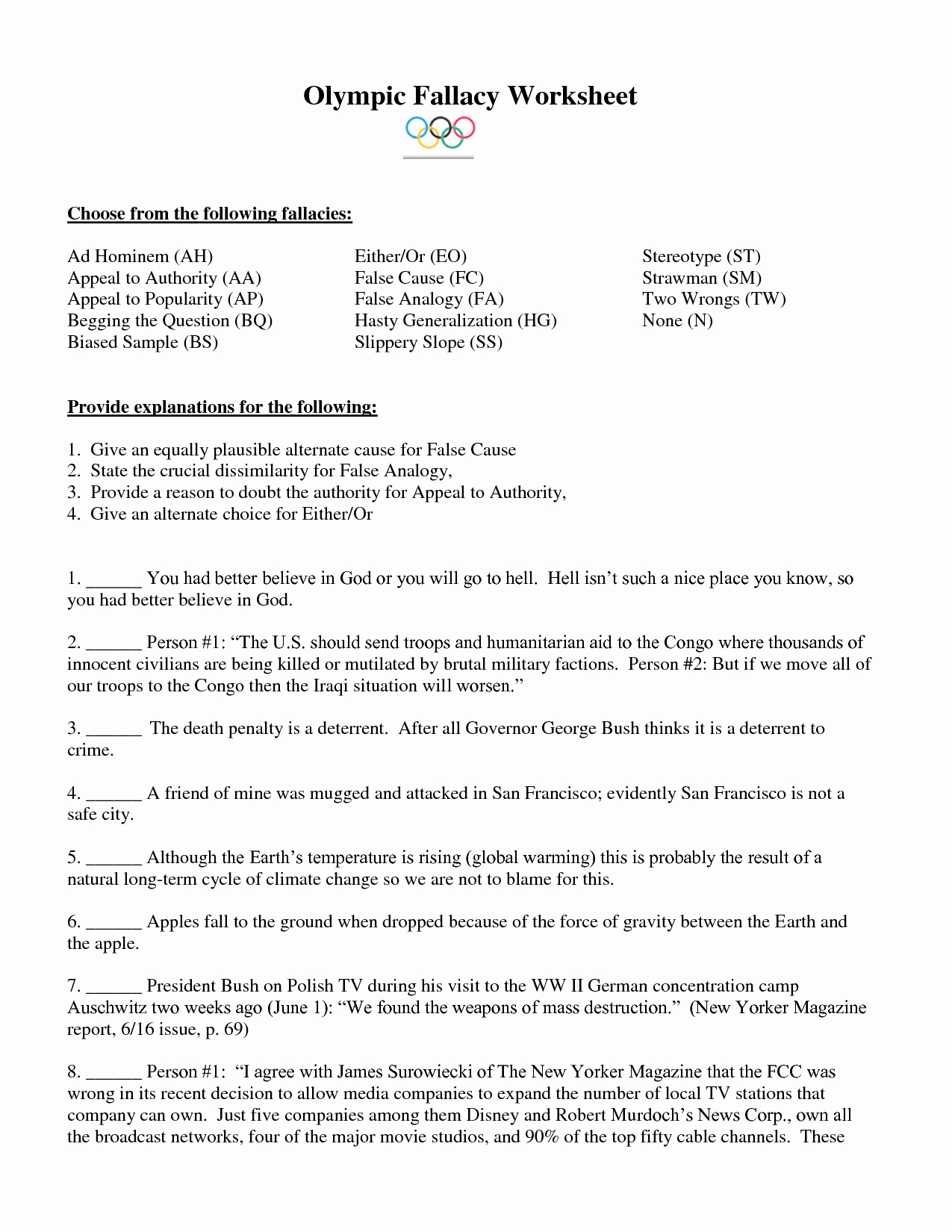 Logical Fallacies Worksheet with Answers Unique 15 Best Of Logical Fallacies Worksheet Cnu