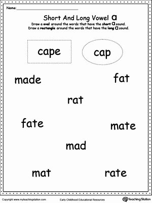 Long A sound Words Worksheet Inspirational Vowels Short or Long A sound Words