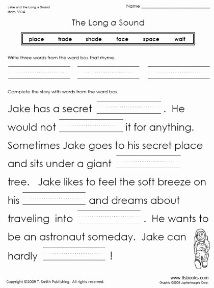 Long A sound Words Worksheet Lovely Jake and the Long A sound
