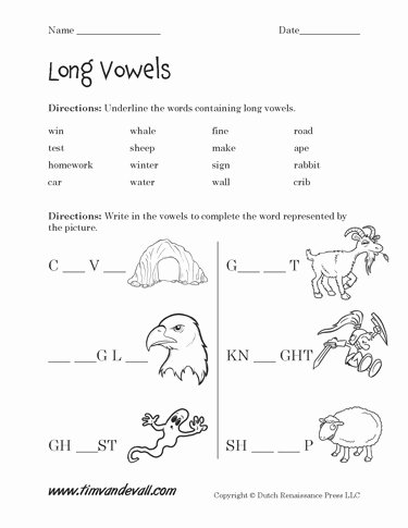 Long A sound Words Worksheet Luxury Free Long Vowel Worksheets