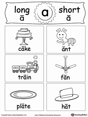 Long A sound Words Worksheet Luxury Short and Long Vowel Flashcards A