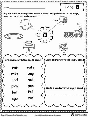 Long A sound Words Worksheet New Long A sound Worksheet