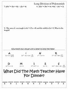 Long Division Of Polynomials Worksheet Inspirational Dividing Polynomials Worksheets Math Aids