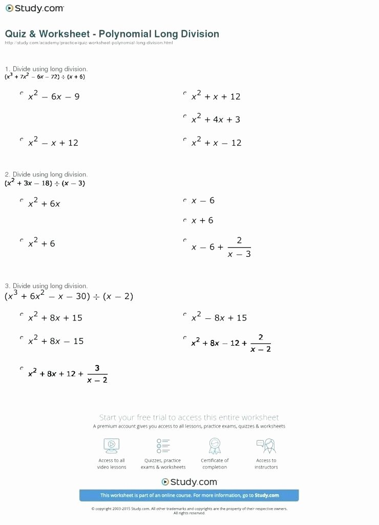 Long Division Of Polynomials Worksheet Lovely Long Division Worksheets with Answers Pdf – Skgold