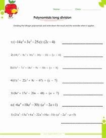Long Division Of Polynomials Worksheet New Adding and Subtracting Polynomials Worksheets with Answers