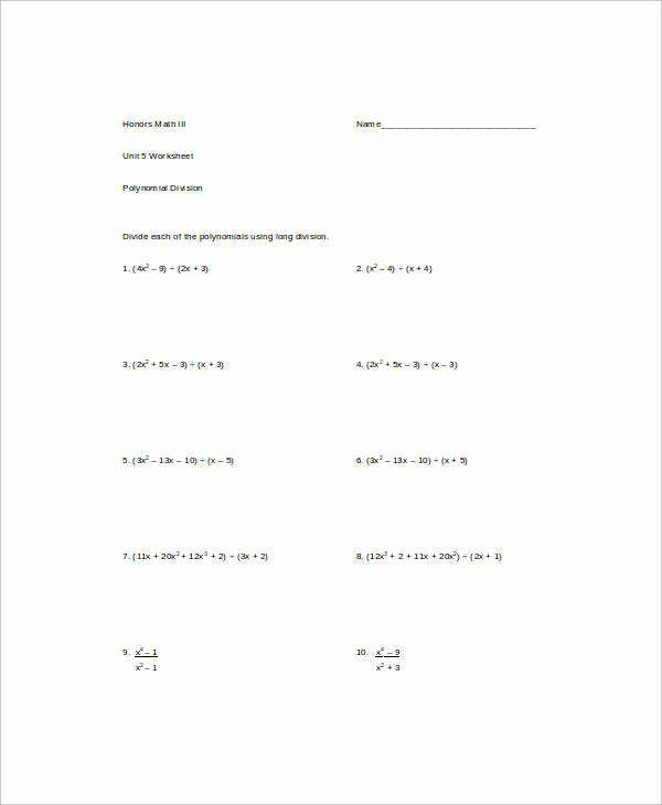 Long Division Of Polynomials Worksheet New Dividing Polynomials Worksheet