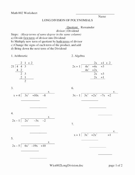 Long Division Polynomials Worksheet Awesome Long Division Of Polynomials Worksheet for 9th 11th