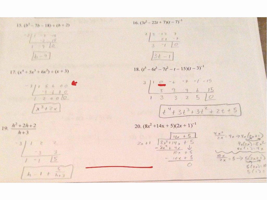 Long Division Polynomials Worksheet Inspirational Showme Long and Synthetic Division Worksheet Algebra 2