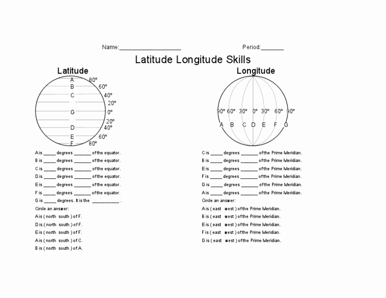 Longitude and Latitude Worksheet Unique Latitude Longitude Skills Worksheet for 5th 8th Grade