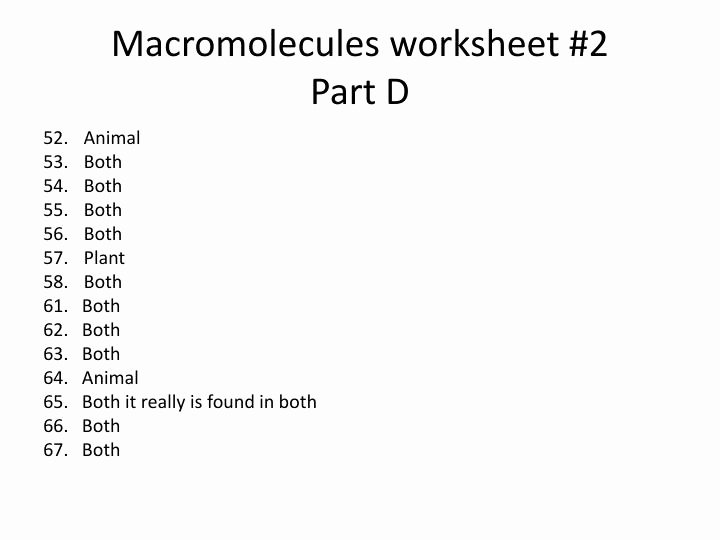 Macromolecules Worksheet #2 Answers Unique Ppt Study Guide Answers Powerpoint Presentation Id
