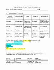 Macromolecules Worksheet Answer Key Awesome Bio 1a General Biology Spring 2015 Water & Macromolecules