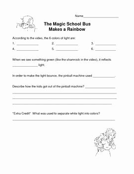 """Magic School Bus Worksheet Awesome Light and Color Magic School Bus """"makes A Rainbow"""" Video"""