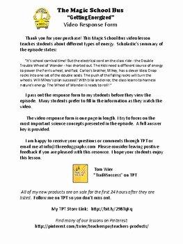 "Magic School Bus Worksheet Elegant Energy Magic School Bus ""gets Energized"" Video Response"