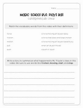Magic School Bus Worksheet Inspirational Magic School Bus Plays Ball force and Motion Worksheets