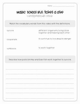 Magic School Bus Worksheet Inspirational Magic School Bus Takes A Dive Symbiosis Worksheets by