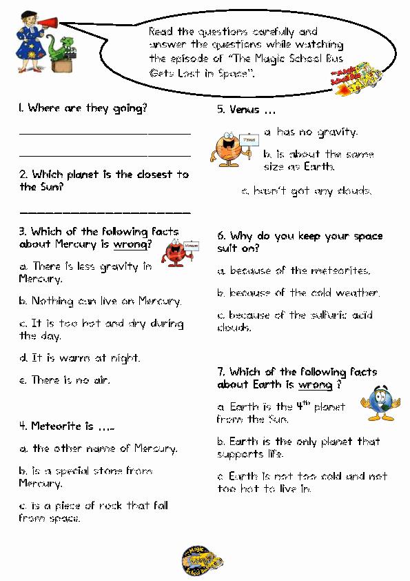 Magic School Bus Worksheet Inspirational Movie Worksheet the Magic School Bus Gets Lost In Space
