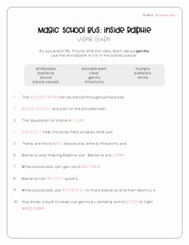 Magic School Bus Worksheet Lovely Magic School Bus Inside Ralphie Germs Video Guide by