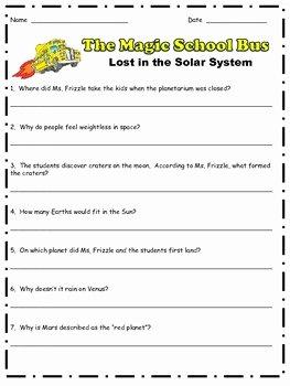 Magic School Bus Worksheet New Magic School Bus Lost In the solar System Prehension