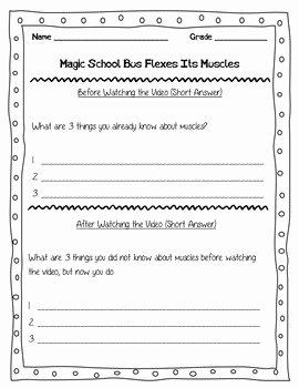 Magic School Bus Worksheet Unique Magic School Bus Flexes Its Muscles Video Worksheet