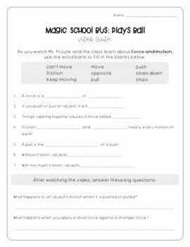 Magic School Bus Worksheet Unique Magic School Bus Plays Ball force and Motion Worksheets