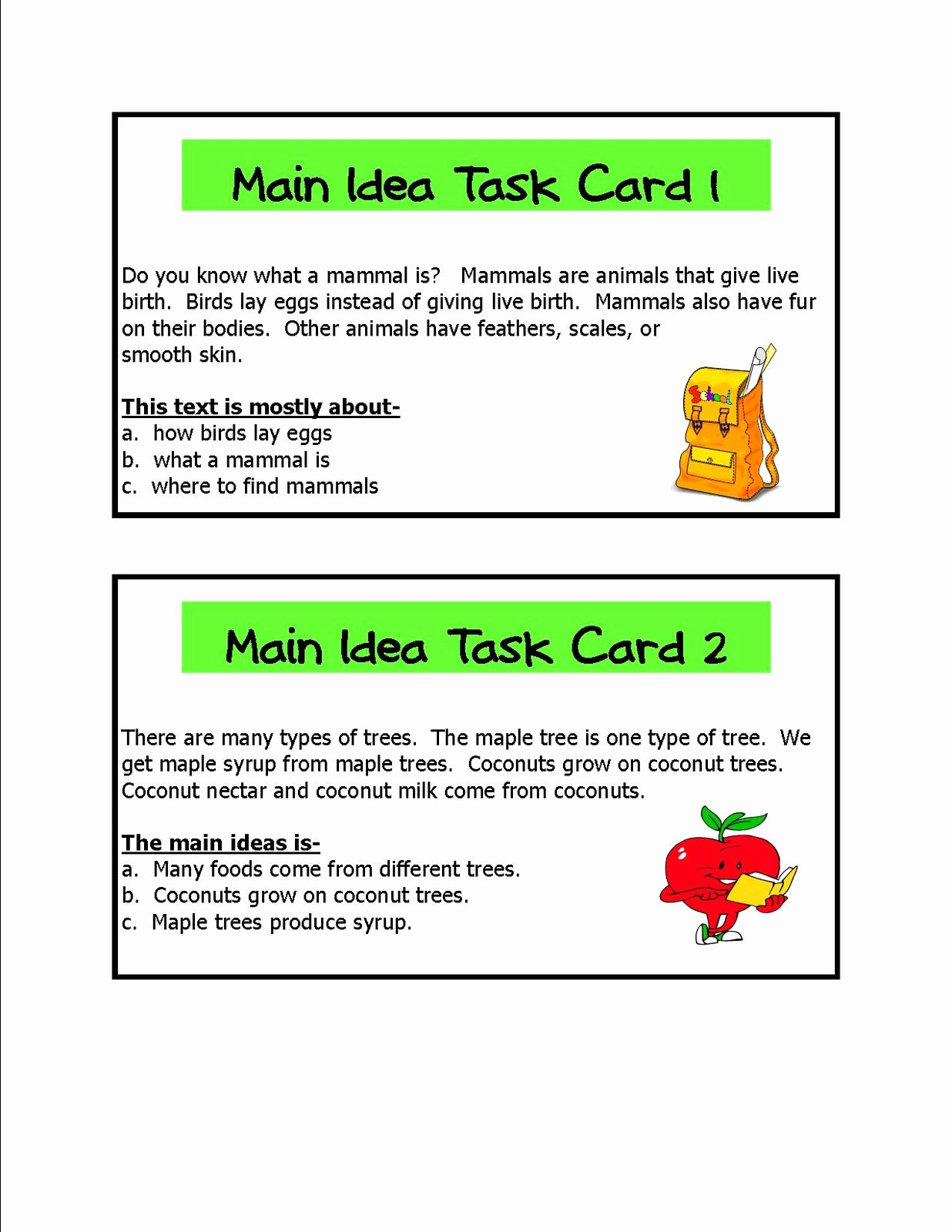 Main Idea Worksheet 2nd Grade Awesome Literacy & Math Ideas Main Idea Learning Centers